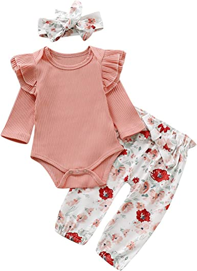 Newborn Baby Girls Clothing Sets Floral Ruffle Romper Headband Outfits Set Cotton Bodysuit White Romper Jumpsuit