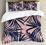 Ambesonne Navy and Blush Duvet Cover Set King Size, Summer Exotic Floral Tropical Palm Tree Leaf Banana Plant Hawaii, Decorative 3 Piece Bedding Set with 2 Pillow Shams, Night Blue Pale Pink