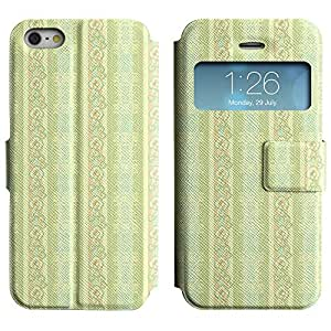 Be-Star Diseño Impreso Colorido Slim Casa Carcasa Funda Case PU Cuero - Stand Function para Apple iPhone 5 / 5S ( Green Flowers )