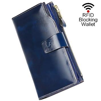 64f611512 Carteras Mujer Monederos de Mujer Fashion Gran Capacidad RFID Bloqueador Billeteras  Mujer para Tarjetas con Cremallera de Bolsillo Carteras de Fiesta para ...