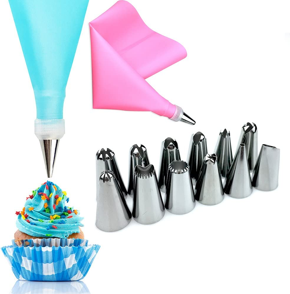 Silicone Pastry Bags Tool Piping Cream Stainless Steel Nozzles Decorator Pastry Cream Making Set for Dessert Cupcakes Koksi Cake Decorating Equipment 14 Pieces Icing Decoration Kit Piping Nozzle