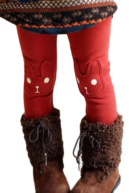 Papijam Girls Basic Winter Printed Elastic Fleece Padded Legging Pant
