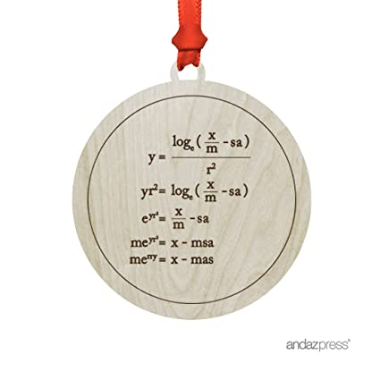 andaz press funny laser engraved wood christmas ornament with gift bag merry christmas math equation