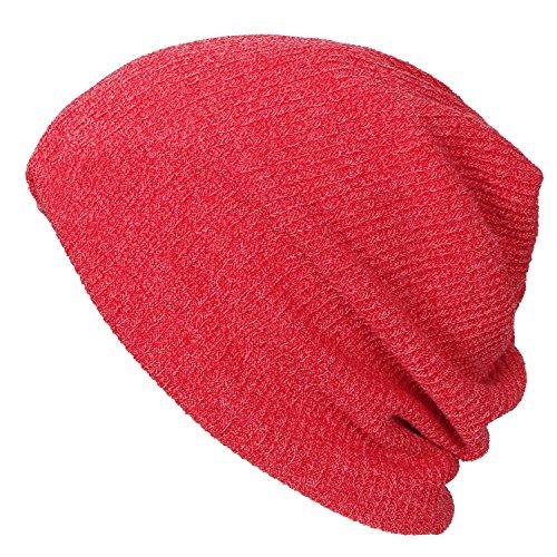 ililily Ribbed Knit Beanie Cap Skull Hat Neck Snood Rojo
