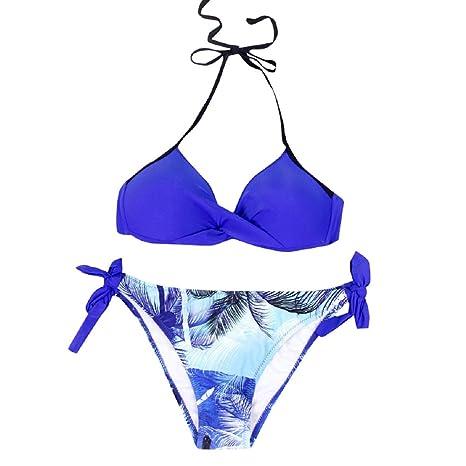 e08a1376 Amazon.com: Bikini Swimdress THENLIAN Womens Halter Strap Solid Color Print  Padded Bikini Set Swimsuit Swimwear Beachwear(L, Dark Blue): Appliances