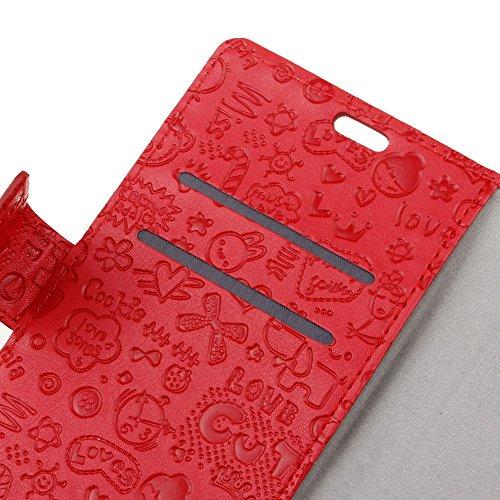 Lusee PU Caso de cuero sintético Funda para Wiko Jerry 3 5.45 Pulgada Cubierta con funda de silicona botón pequeña bruja lilac pequeña bruja rojo