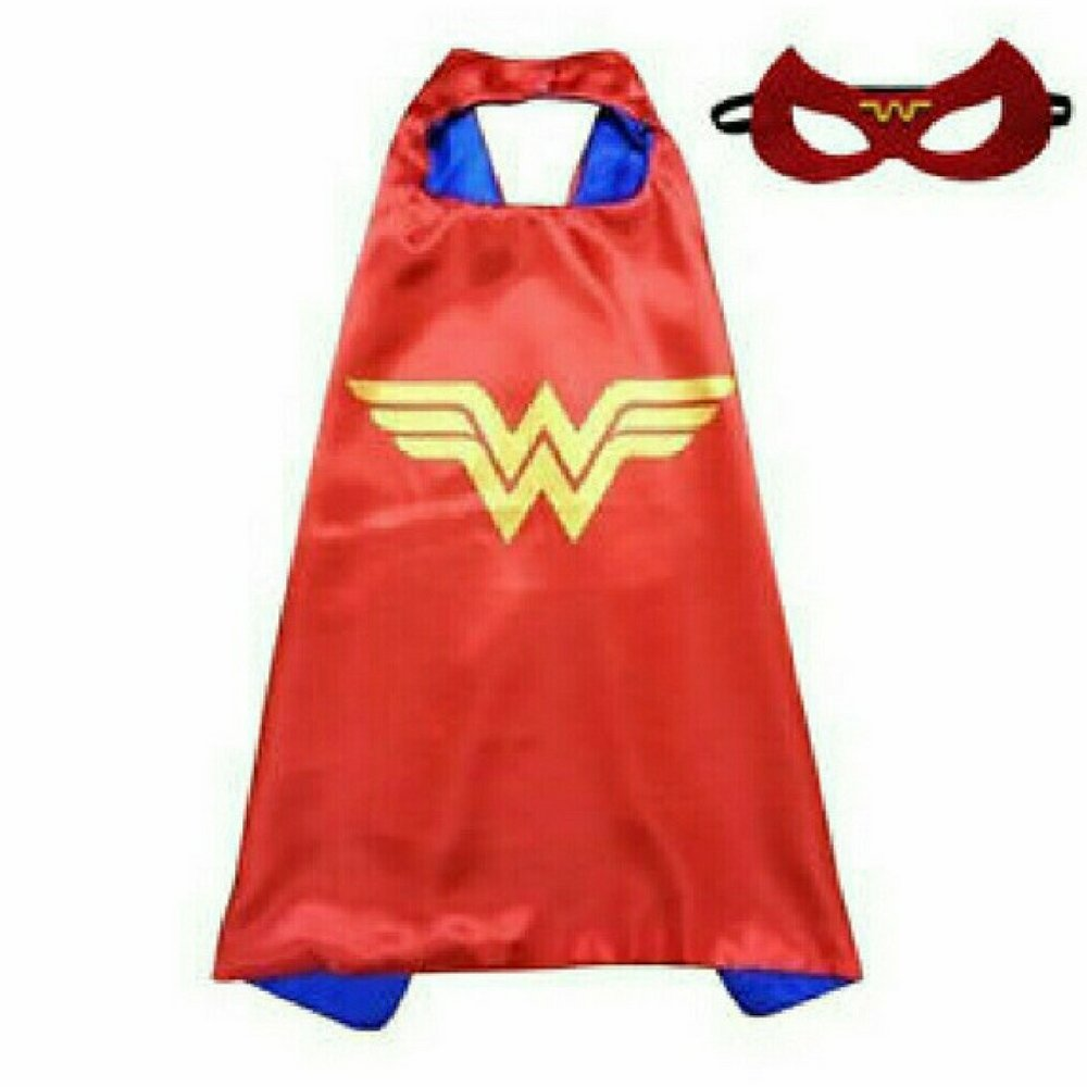 JD Trading Super Hero Dress Up Play Costumes With Double Sided Satin Cape and Matching Felt Mask (Red and Yellow)