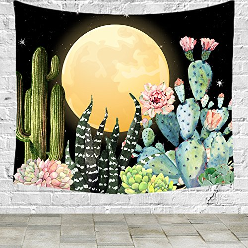 FELENIW Black Night Starry Sky Full Moon Cactus Succulent Plants Agave Tapestry wall hanging Tapestry Blanket Decorate Home table Bedroom Living Room (60x40 inches) -