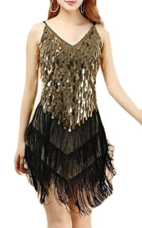 87bf4ee9ad8c JXG-Women Latin Sequins Tassel Dress Cocktail Salsa Dance Show Costume Gold  OS