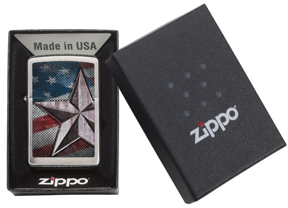 Zippo American Flag Star Pocket Lighter, Brushed Chrome by Zippo (Image #5)