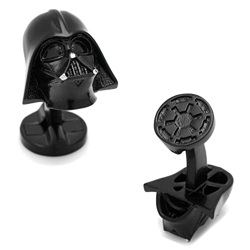 Teris Boutique Mens Jewelry Star Wars Darth Vader Head Dark Gray Gunmetal Cufflinks Pair w// Gift Box