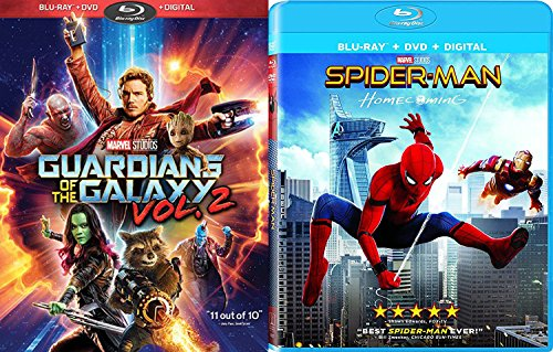 Marvel Blu Ray Bundle Spider Man  Homecoming  Blu Ray   Dvd   Digital  And Guardians Of The Galaxy Vol  2  Blu Ray   Dvd   Digital  Cinematic Universe Super Hero Double Feature