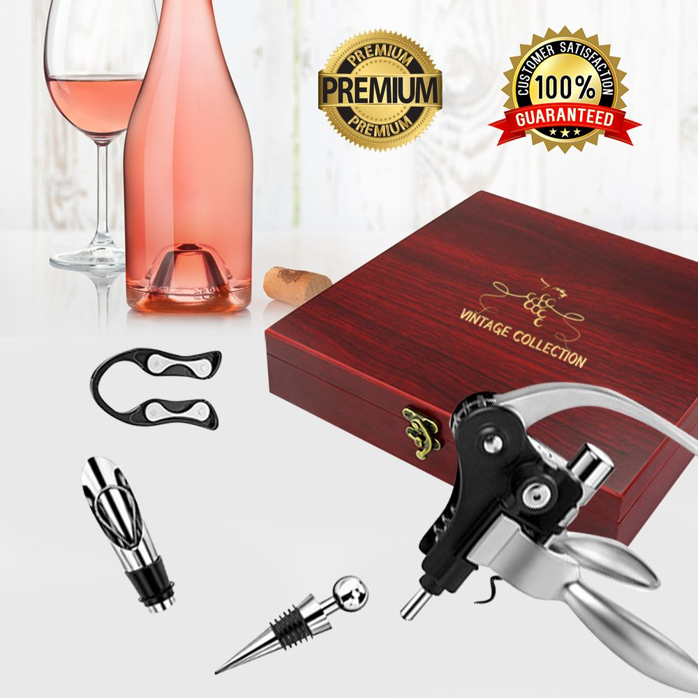 Vintage Collection Lever Wine Opener & Foil Cutter and 9 Piece Accessories Set, Open Wine With Ease Like a Pro, Everything You'll Ever Need in a Deluxe Wooden Box – Great Wine Lovers Gift for Any Occa by Vintage Collection (Image #2)