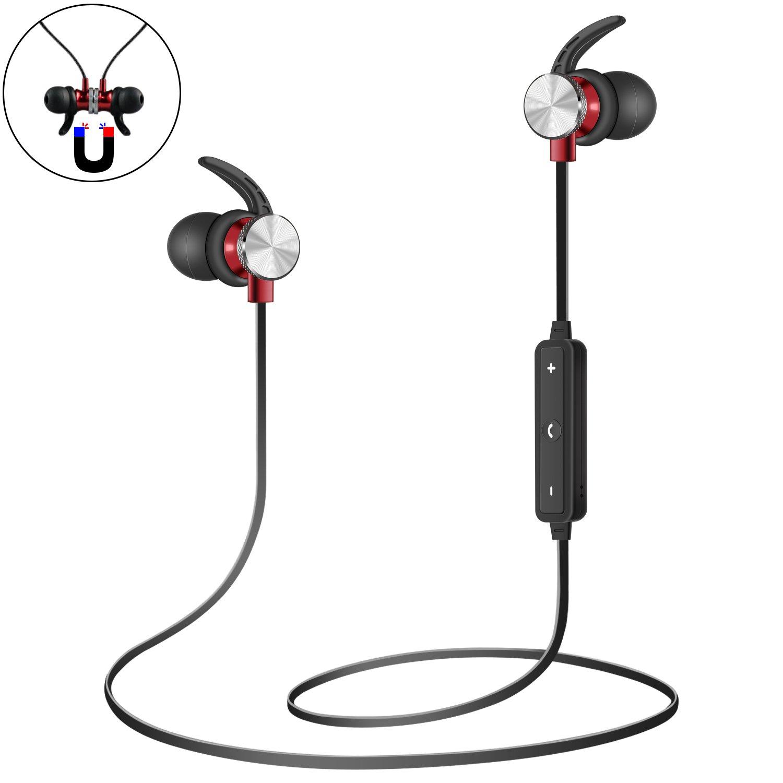 Bluetoothヘッドホン 磁気ワイヤレスヘッドホン インイヤーBluetoothイヤホン 内蔵マイク 豊かな低音ステレオサウンド ノイズキャンセリング 防汗 ワイヤレスイヤホン ジム ランニング エクササイズ用 B07BVQC5NV