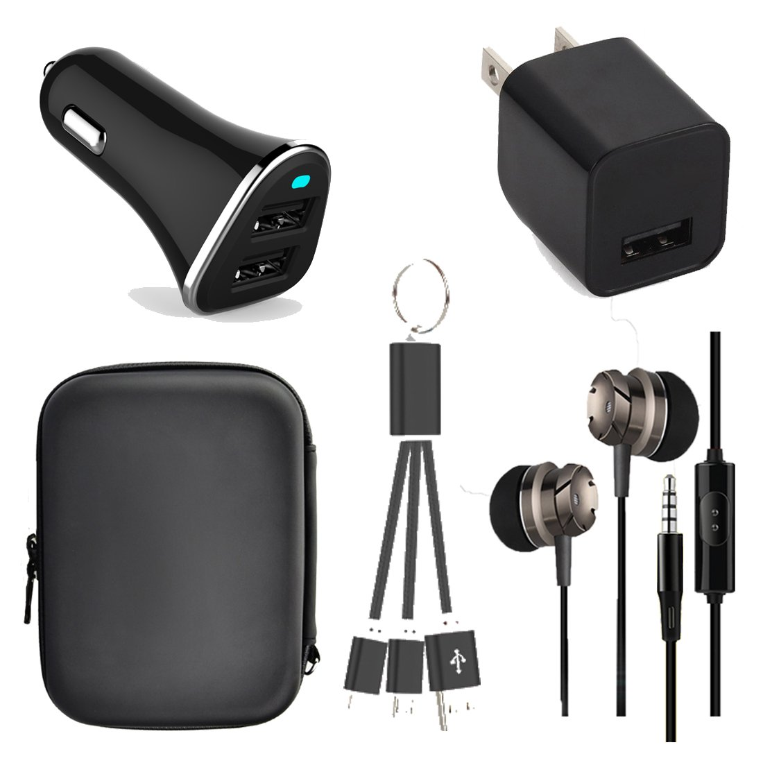 Caithly Mobiel Phone Accessory 5 in 1 charger kit ,Pouch bag,Dual usb car charger,Fast usb wall charger ,Headphone with Mic and Control ,Data charging cable for iphone and Android,Christmas gift