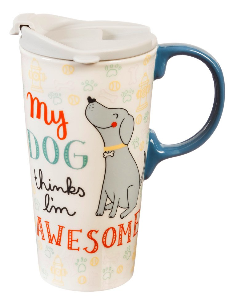 "Cypress Home My Dog Thinks I'm Awesome 17 oz Boxed Ceramic Perfect Travel Coffee Mug or Tea Cup with Lid - 3""W x 5.25''D x 7''H"