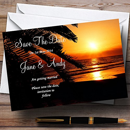 Gorgeous Florida Sunset Beach Personalized Wedding Save The Date Cards