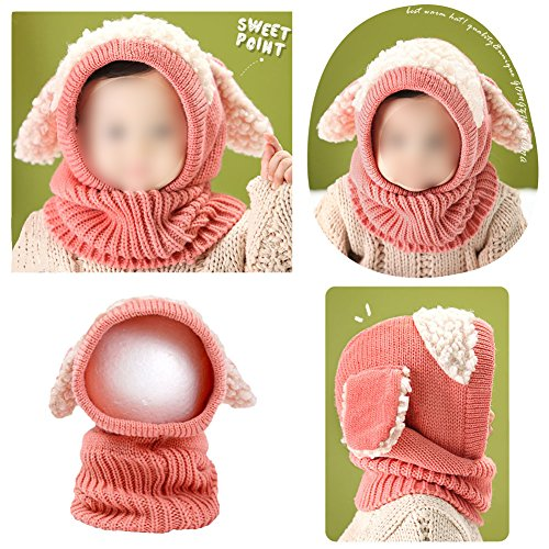 Cute Winter Kids Girls Boys Kintted Hat Ear Puppy Caps Unisex Toddlers Babies Scarf Coif Hood One-Piece Warm Children Gifts :Pink