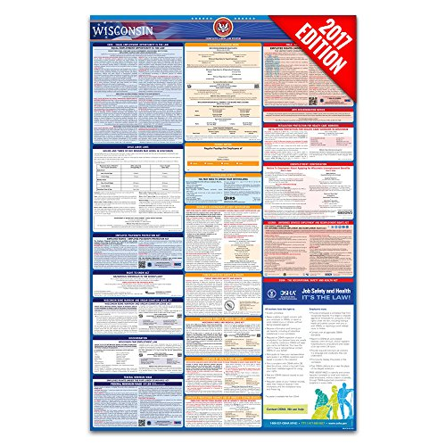 2017 Wisconsin Labor Law Poster – State & Federal Compliant – Laminated