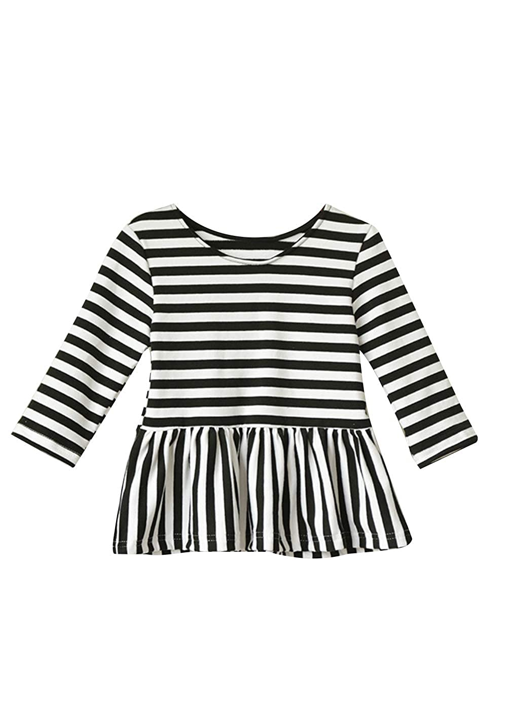 YMING Girls Round Neck 3//4 Sleeve Casual Printed Striped Cute Top Tee Shirt