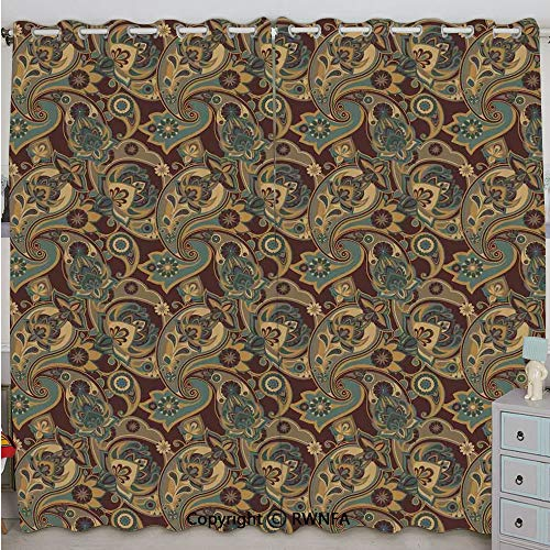 (Justin Harve window Iranian Hippie Themed Spiritual Textured Floral Ornament Persian Artwork Printed Curtain Set of 2 Panels(100