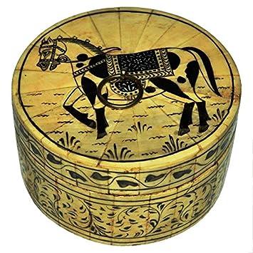 Amazon Com Shrinath Handicrafts Round Bone Horse Painting Box Home