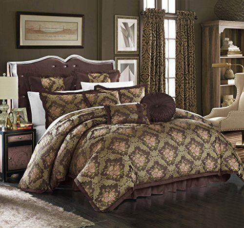 (Chic Home 9 Piece Le Mans Decorator Upholstery Quality Jacquard Motif Fabric Bedroom Comforter Set & Pillows Ensemble, King, Brown)