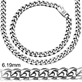 Sterling Manufacturers Alluring Miami Cuban Link Chain Bracelet for Men, 925 Sterling Silver Jewelry with Secure LinxLock Design, Platinum Plated 6.19 MM, Made in Italy (8.00)