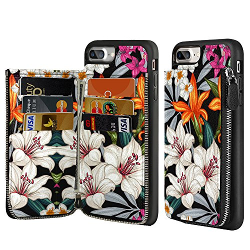 iPhone 7 Plus Zipper Wallet Case, LAMEEKU iPhone 8 Plus Floral Case, iPhone 7 Plus / 8 Plus Credit Card Holder Case with Vintage Flower Design, Protective Cover for Apple iPhone 7 Plus/8 Plus 5.5