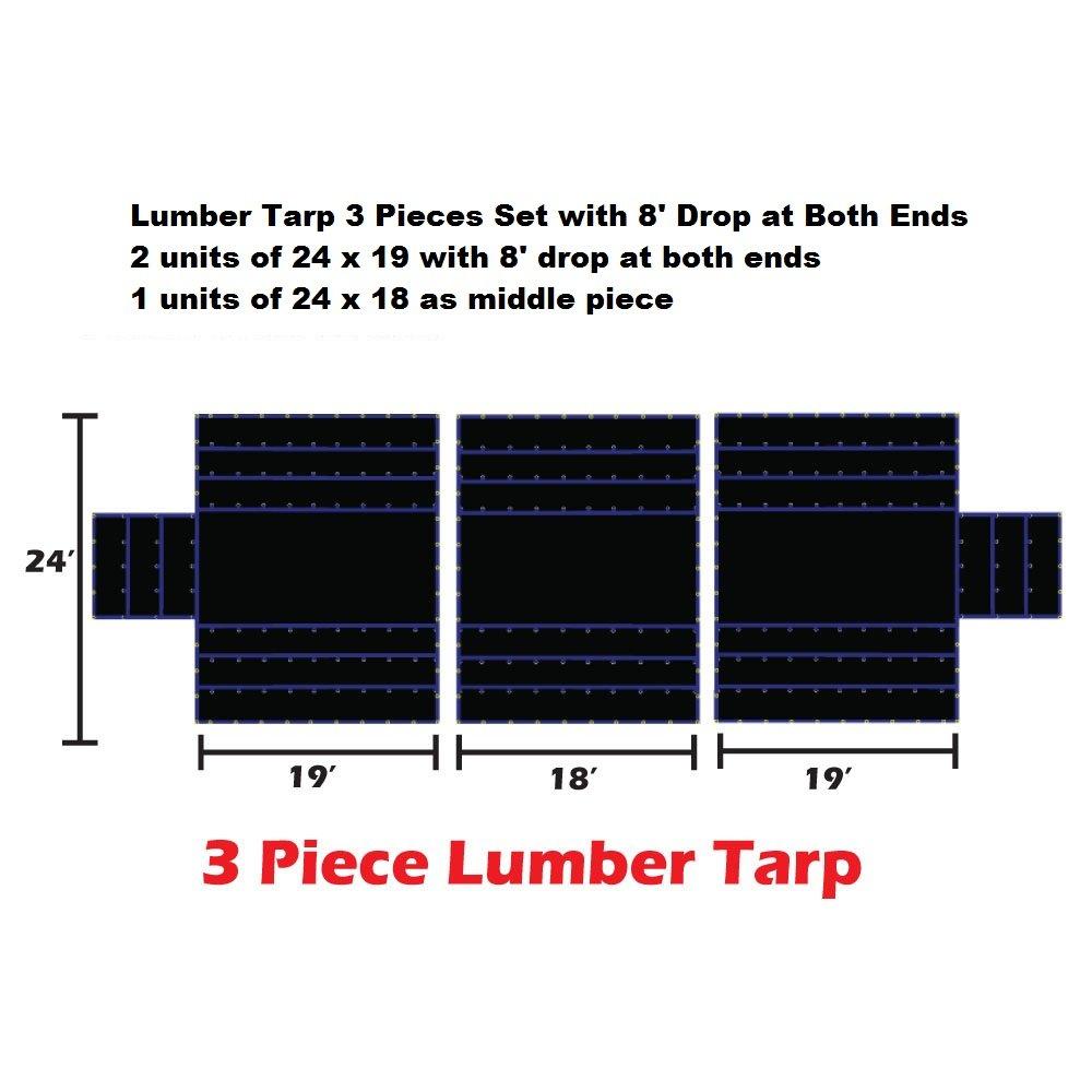 Xtarps-24' x 56' (3 PCS) Flatbed Truck Tarp - Light Weight Lumber Tarp with 8' Drop, Black