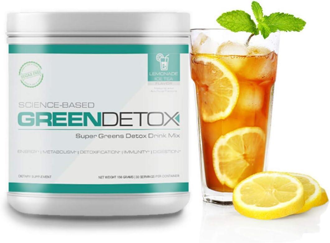 Science Based Green Detox - Super Greens Detox Drink - Lemon Tea Flavor - 30 Servings