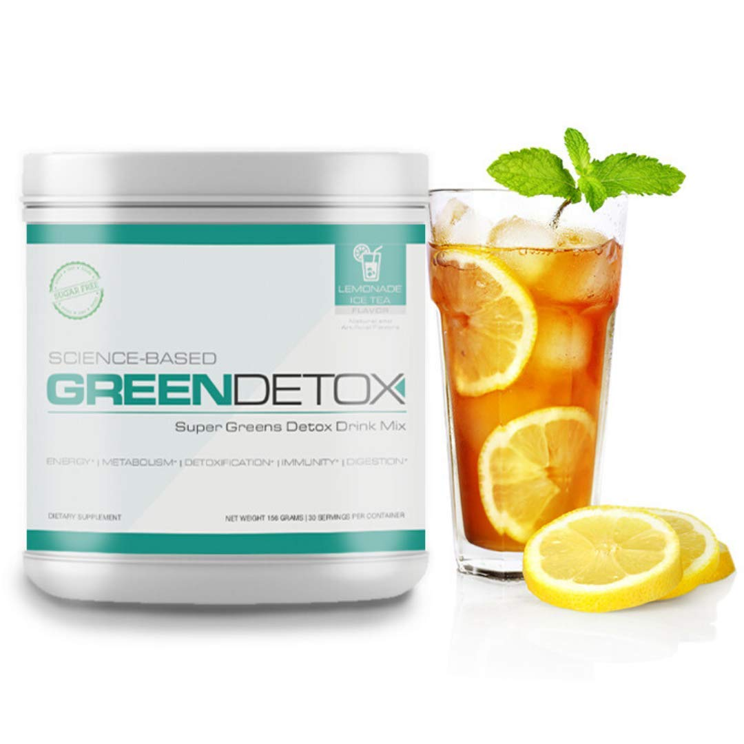 Green Detox - Superfood Drink Mix - Sugar Free, Vegan-Friendly - Over a Dozen Superfoods in Each Serving (Lemonade Ice Tea)