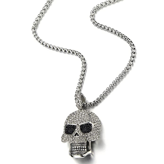 Steel Large Sugar Skull Pendant Necklace for Men Women with Cubic Zirconia and 30 inches Wheat Chain