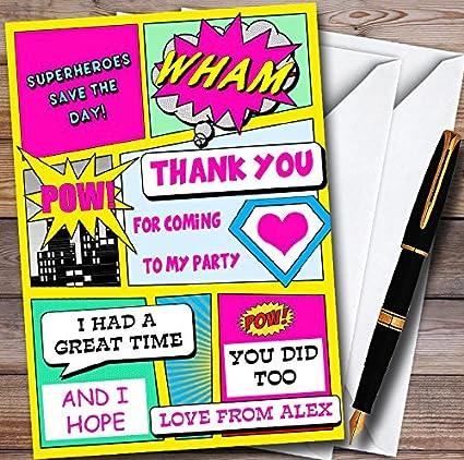 Tarjetas de agradecimiento para fiesta, diseño de superhéroe ...