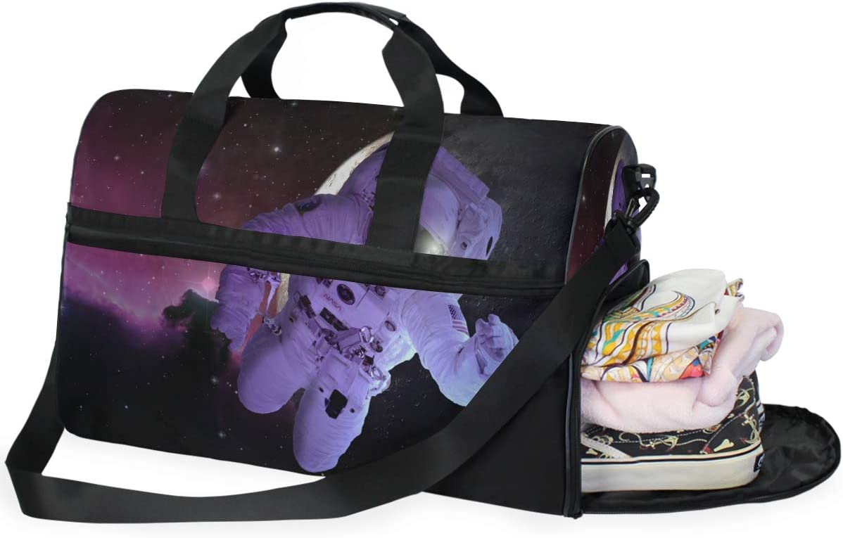 MUOOUM Cool Astronaut In Galaxy Large Duffle Bags Sports Gym Bag with Shoes Compartment for Men and Women