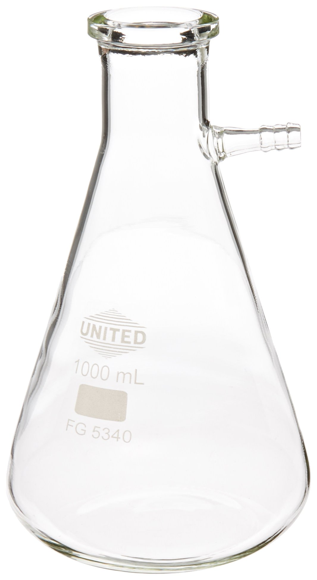 United Scientific FG5340-1000 Borosilicate Glass Heavy Wall Filtering Flask, Bolt Neck with Tubulation, 1000ml Capacity by United Scientific Supplies