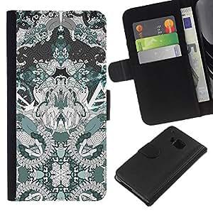 Arte Dibujo Patrón Espiritual- la tarjeta de Crédito Slots PU Funda de cuero Monedero caso cubierta de piel Para HTC One M9