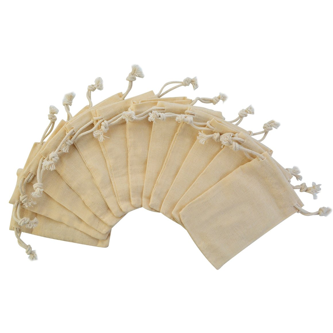 Miayon Pack of 12pcs 2.75x4 Inch Double Drawstring Cotton Muslin Bags Reusable Bags Tea Bags Souvenir Gift Bag