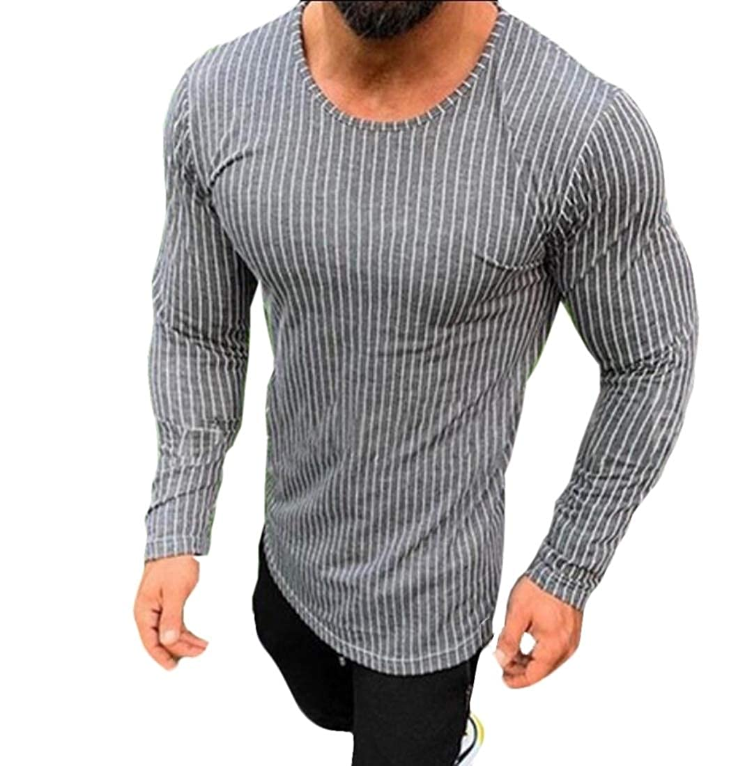 YY-qianqian Mens Jersey Long Sleeve Slim Fit Hipster Crewneck Stripe T-Shirt