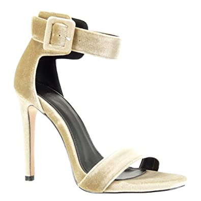 Angkorly Damen Schuhe Sandalen Pumpe - Stiletto - Sexy - String Tanga - Schleife Stiletto High Heel 11 cm - Beige AF-757 T 38