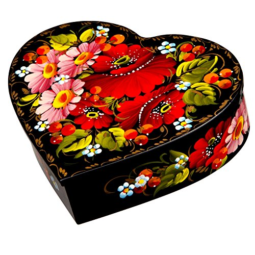 Petrykiv Ethnic Floral Style Heart-Shaped Lacquered Wooden Jewelry Box Hand Painted in Ukraine, Beautiful Gift for Girls and Women, Storage Case for Earrings, Necklace and Rings (Rose) (Painted Vintage Hand Button)