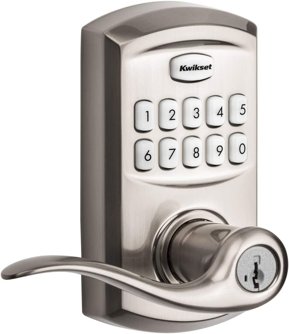 Kwikset 99170-001 SmartCode 917 Keypad Keyless Entry Traditional Residential Electronic Lever Deadbolt Alternative with Tustin Door Handle and SmartKey Security, Satin Nickel