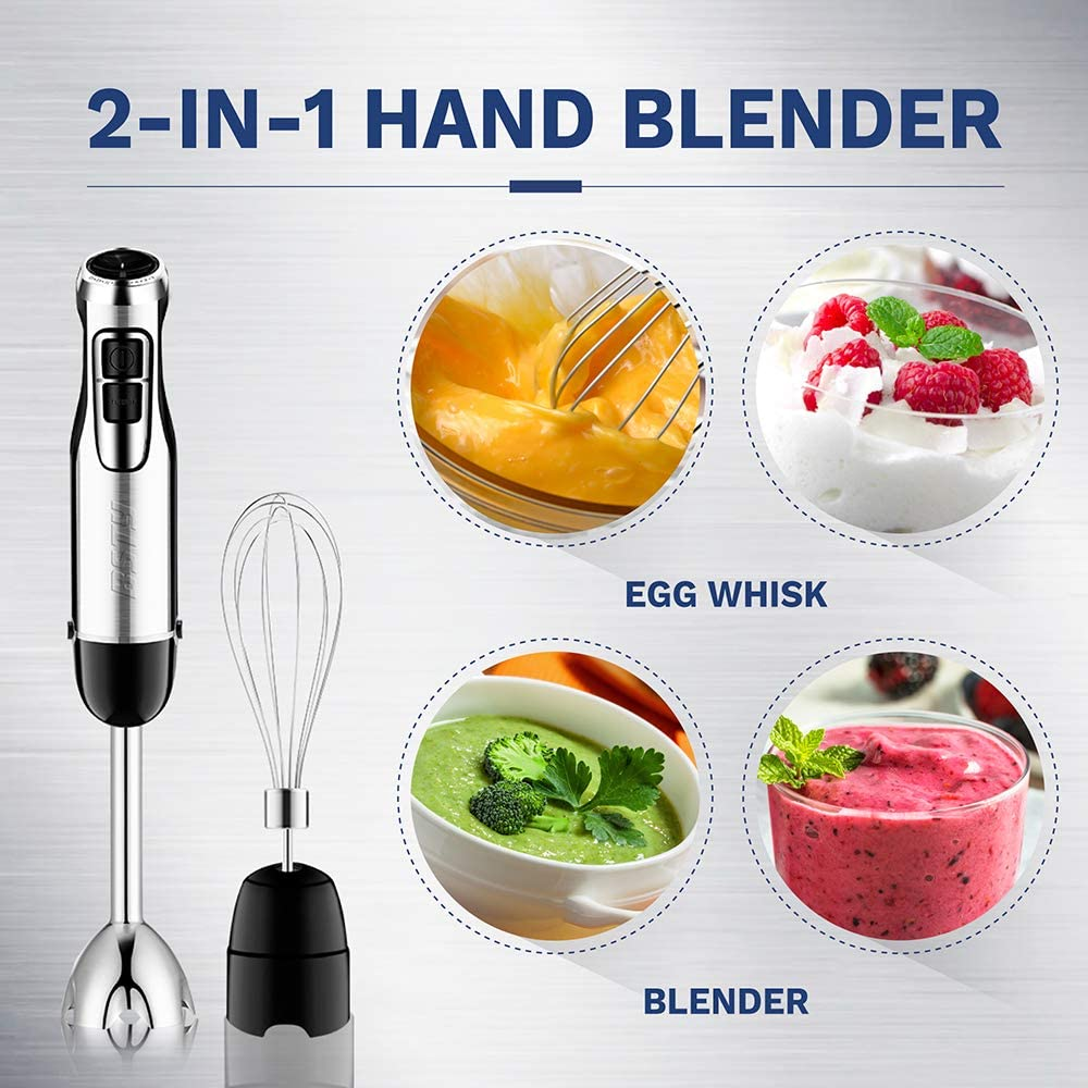 BSTY 2-in-1 Hand Blenders Set 15-Speeds Powerful Immersion Blender with 500-Watt Motor and Turbo Boost Button for Maximum Power, Hand Held Blenders: Kitchen & Dining