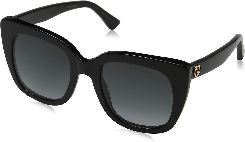 Gucci GG0163S 001 Gafas de sol, Negro (1/Grey), 51 para Mujer