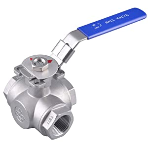 "3/4"" 3-Way Stainless Steel (304) Ball Valve - L Port with Mounting Pad, 1000PSI NPT"