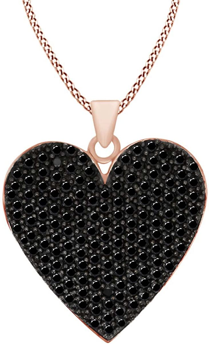 AFFY Heart Pendant Necklace in 14k Gold Over Sterling Silver Round Cut Simulated Black Spinel 7.15 cttw