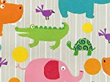 Pack of 1, Baby Zoo Animals 24'' x 417' Half Ream Roll Gift Wrap for Holiday, Party, Kids' Birthday, Wedding & Special Occasion Packaging