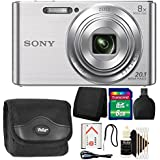 Sony DSC-W830 20.1MP Point and Shoot Digital Camera Silver with 8GB Top Accessory Kit