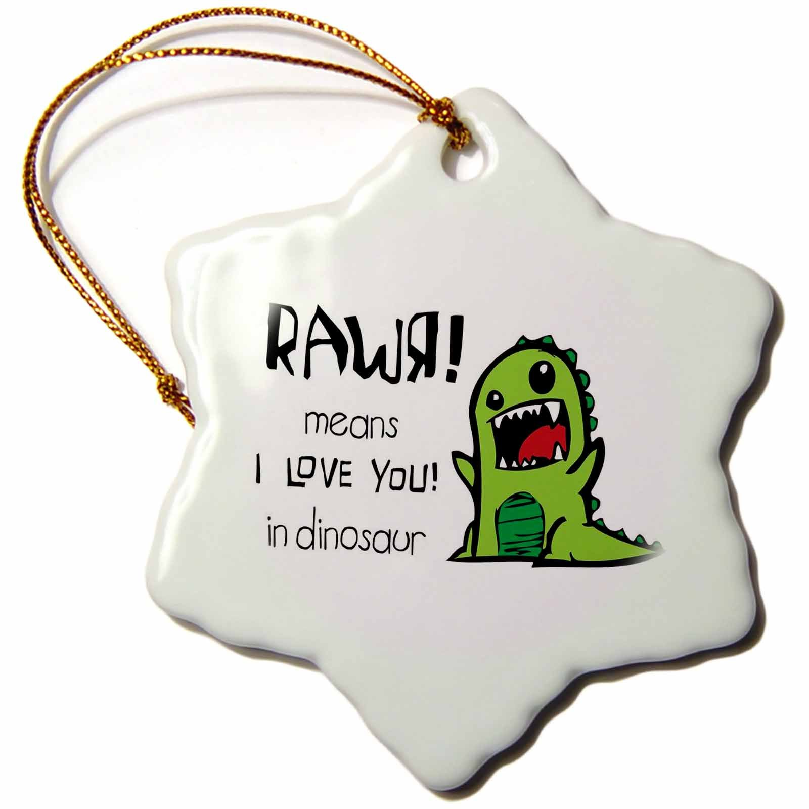 3dRose LLC orn_157446_1 Porcelain Snowflake Ornament, 3-Inch, Rawr Means I Love You in Dinosaur Cute Dinosaur