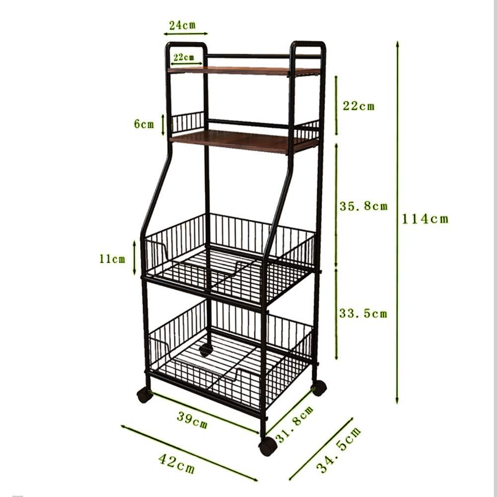 Kitchen Rack Storage Rack, Floor Multi-Layer Vegetable Seasoning Bowl Pot Storage Shelf, Multi-Function Caster(4234.5114cm) by Kitchen Cart (Image #2)